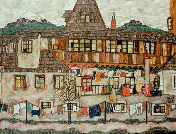 House with Drying Laundry, 1917 | Schiele | Painting Reproduction
