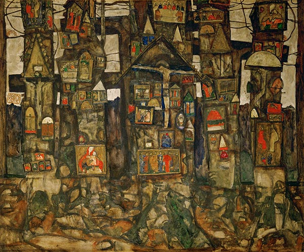 Shrines in the Wood, 1915 | Schiele | Painting Reproduction