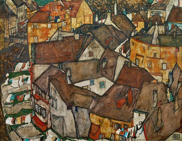 Krumau - Crescent of Houses (The Small City V), 1915 | Schiele | Painting Reproduction