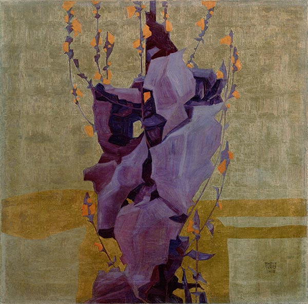 Stylized Flower on a Decorative Background, 1908 | Schiele | Painting Reproduction