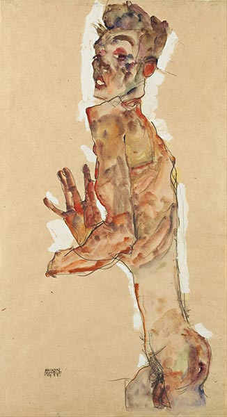 Self-Portrait with Splayed Fingers, 1911 | Schiele | Painting Reproduction