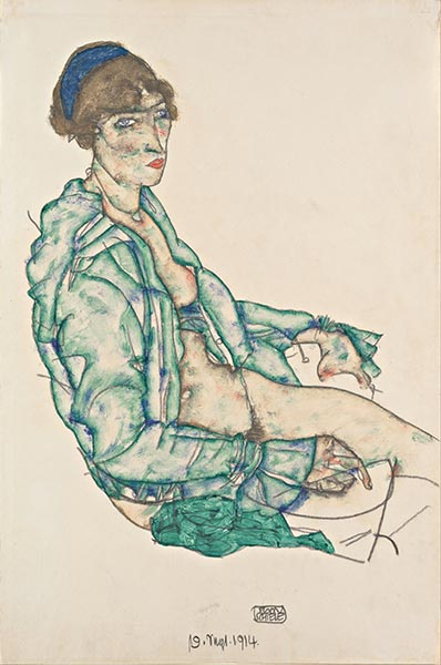 Sitting Semi-Nude with Blue Hairband, 1914 | Schiele | Painting Reproduction