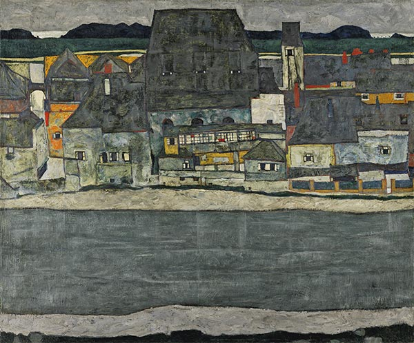 Houses on the River (The Old Town), 1914 | Schiele | Painting Reproduction