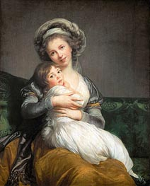 Elisabeth-Louise Vigee Le Brun | Self Portrait in a Turban and her Daughter Julie, 1786 | Giclée Canvas Print