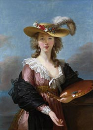 Elisabeth-Louise Vigee Le Brun | Self Portrait in a Straw Hat, a.1782 | Giclée Canvas Print