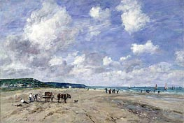 Eugene Boudin | The Beach at Tourgeville | Giclée Canvas Print
