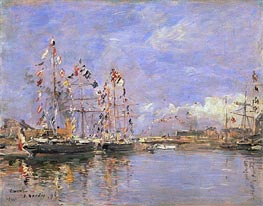 Eugene Boudin | Deauville, Flag-Decked Ships in the Inner Harbor, 1896 | Giclée Canvas Print