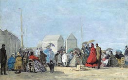 Eugene Boudin | Beach Scene at Trouville, 1864 | Giclée Canvas Print
