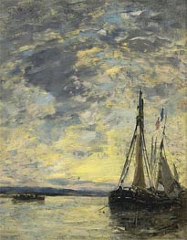 Eugene Boudin | Sailing Boats at Quay, c.1885/90 | Giclée Canvas Print