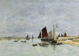 Eugene Boudin | Etaples, Boats in the Harbour, 1876 | Giclée Canvas Print
