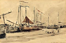 Eugene Boudin | Fishing Boats on the Beach at Scheveningen, 1876 | Giclée Paper Print