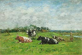 Pasture in Normandy, 1880s by Eugene Boudin | Giclée Canvas Print