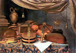Baschenis   A Guitar, a Cello, Lutes, a Musical Score and Other Books and an Armillary Globe on a Draped Table, 1670   Giclée Canvas Print