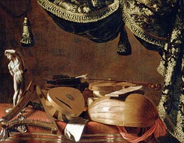 Baschenis | Still Life with Musical Instruments and a Statuette | Giclée Canvas Print
