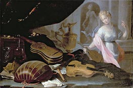 Baschenis | Still Life of Musical Instruments, with a Female Figure | Giclée Canvas Print