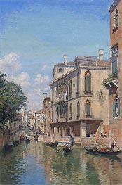 Federico del Campo | A Busy Day on a Venetian Canal, 1910 | Giclée Canvas Print
