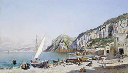 Federico del Campo | Beach at Capri, 1884 | Giclée Canvas Print