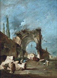 Francesco Guardi | A Capriccio of Buildings on the Laguna with Figures by a Ruined Arch, c.1778/80 | Giclée Canvas Print