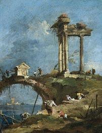 Francesco Guardi | A Capriccio View of a Ruined Temple near a Bridge | Giclée Canvas Print