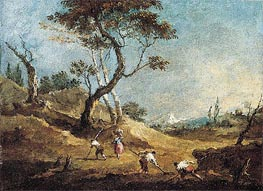 Francesco Guardi | A Pastoral Landscape with Peasants Hoeing and a Washerwoman Before Some Trees, c.1770 | Giclée Canvas Print