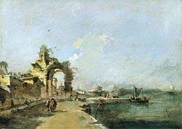 Francesco Guardi | A Venetian Capriccio of the Lagoon with Figures and a Ruined Arch Beyond | Giclée Canvas Print