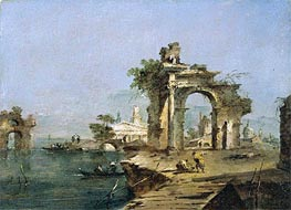 Francesco Guardi | A Venetian Capriccio with Figures by the Lagoon a Ruined Arch and Temple Beyond | Giclée Canvas Print