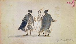 Francesco Guardi | Three Masked Figures in Carnival Costume | Giclée Canvas Print