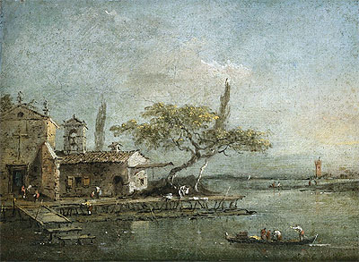 A View of the Island of Anconetta with the Torre di Marghera Beyond, c.1788/90 | Francesco Guardi | Painting Reproduction