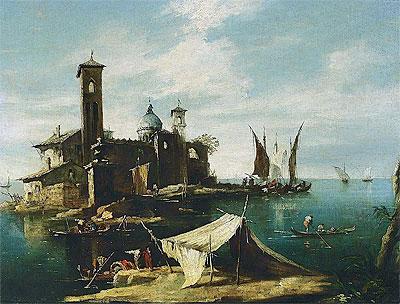 A Capriccio of a Venetian Lagoon with Fishermen in Gondolas, undated   Francesco Guardi   Painting Reproduction
