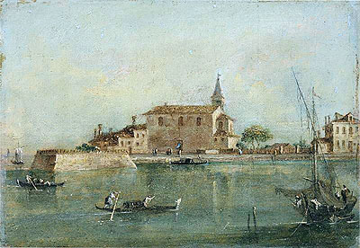 Capriccio with Buildings, a Fishing Boat and Gondolas in the Foreground, undated | Francesco Guardi | Painting Reproduction