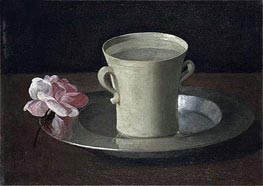 Zurbaran | A Cup of Water and a Rose on a Silver Plate, c.1630 | Giclée Canvas Print