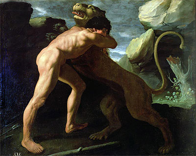 Hercules Fighting with the Nemean Lion, Undated   Zurbaran   Painting Reproduction