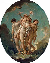 The Three Graces carrying Amor, God of Love, undated by Boucher | Giclée Canvas Print