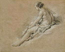 A Seated Nude Girl, undated by Boucher | Giclée Paper Print