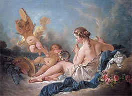 The Muse Euterpe (A Reclining Nymph Playing the Flute with Putti), 1752 by Boucher | Giclée Canvas Print