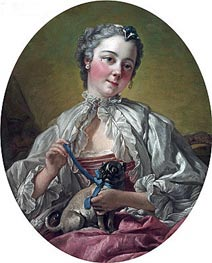 Young Lady Holding a Pug Dog, c.1745 by Boucher | Giclée Canvas Print