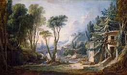 Boucher | Pastoral Landscape with River, 1741 | Giclée Canvas Print