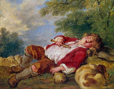 Sleeping Shepherd, undated | Boucher | Painting Reproduction