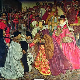 Frank Cadogan Cowper | Entry of Queen Mary I with Princess Elizabeth into London in 1553, 1910 | Giclée Canvas Print
