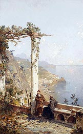 Unterberger | Capuchin Monks from the Monastery in Amalfi above the Bay of Naples | Giclée Canvas Print