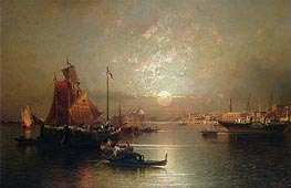 Unterberger | Shipping on the Lagoon, Venice at Sunset, undated | Giclée Canvas Print