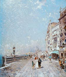 Unterberger | The Molo, Venice, Looking West with Figures Promenading, undated | Giclée Canvas Print