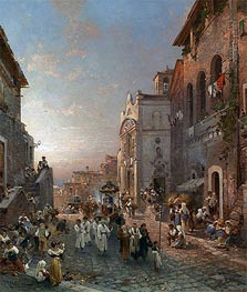 Unterberger | Religious Procession in Italian City | Giclée Canvas Print