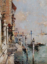 Unterberger | Venice, View of a Canal across the Grand Canal towards the Church of San Giorgio | Giclée Canvas Print