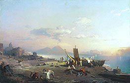 Unterberger | Fisherfolk on the Shore, Vesuvius beyond, 1869 | Giclée Canvas Print