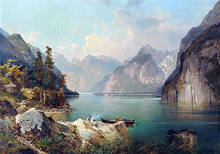 Resting in Alps, c.1876/77 | Unterberger | Painting Reproduction