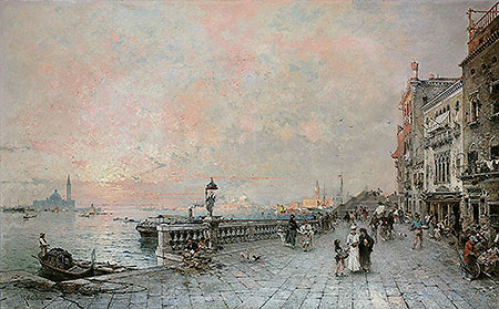 The Riva dei sette Martiri, looking towards the Ponte de la Veneta Marina, Venice, 1894 | Unterberger | Painting Reproduction