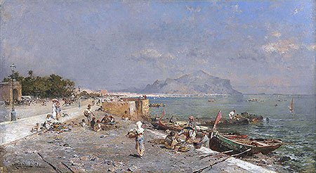 On the Waterfront, Palermo, undated   Unterberger   Painting Reproduction
