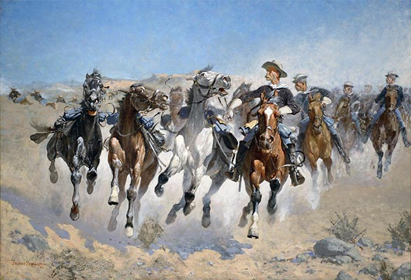 Frederic Remington | Dismounted: The Fourth Troopers Moving the Led Horses, 1890 | Giclée Canvas Print