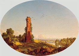 Frederic Edwin Church | New England Landscape with Ruined Chimney, 1846 | Giclée Canvas Print